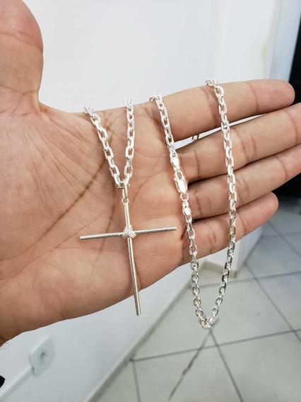 Cordão Cadeado 60cm + Crucifixo Prata 925