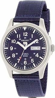 Seiko 5 Deporte Automatico Azul Marino Lona Reloj Para Hombr