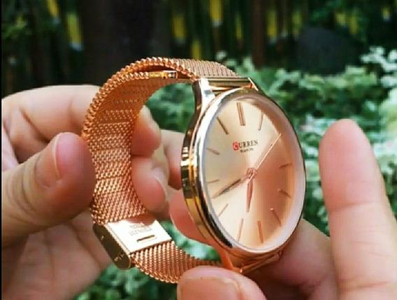 Relógio Feminino Curren 9024 Dourado Rose Pulseira Fina