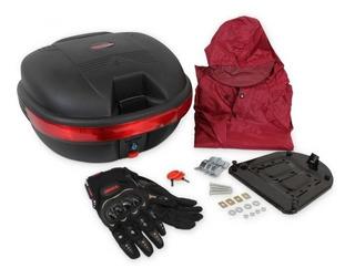 Paquete Caja Para Moto 31 Lts Guantes E Impermeable Mikel´