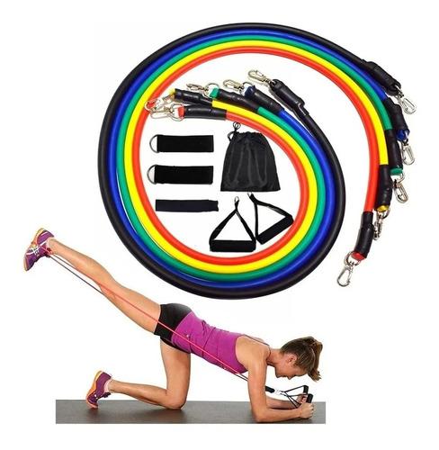 Imagem 1 de 5 de Kit Tubing Elásticos Faixas Treinamento Funcional Pilates