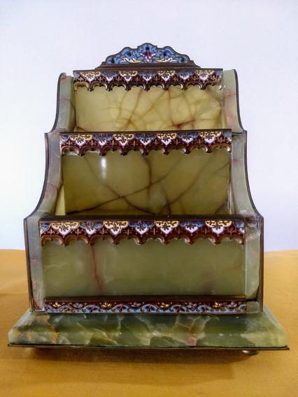 Porta Correspondência Ônix Bronze E Esmalte Séc 19 Tinteiro
