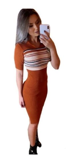 Vestido Midi Feminino Tricot Modal Manga Curta Listra Moda