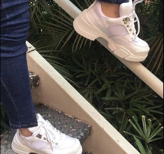 Tênis Feminino Em Couro Branco Smash Floré