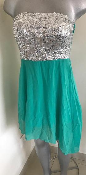 Hermosos Vestido Moda Oriental Verde Con Plata Estraple