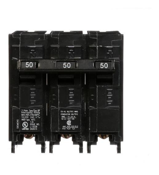 Breaker Residencial Qp 3x50 Amp Empotrar Siemens