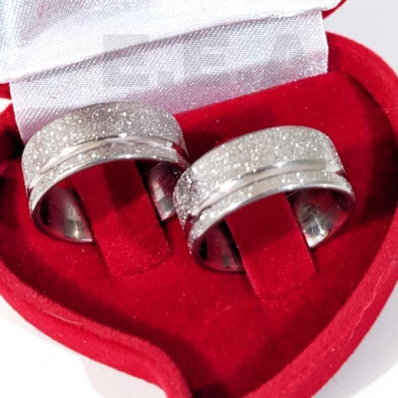 Alianças Diamantada 8mm Aço Inox E Caixinha