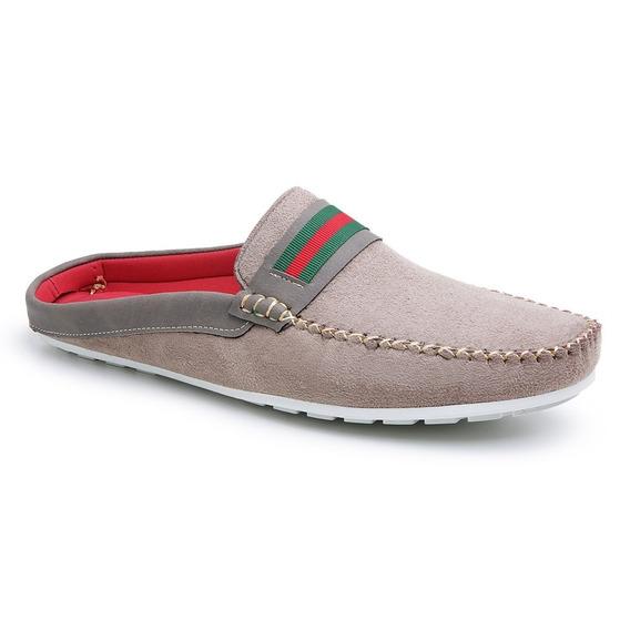 Mule Babuche Sapatenis Masculino Camurça Confort Shoes Azul