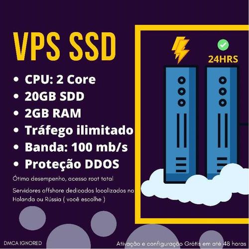 Servidor Vps Linux - 20gb Ssd - 2gb Ram - Tráfego Ilimitado