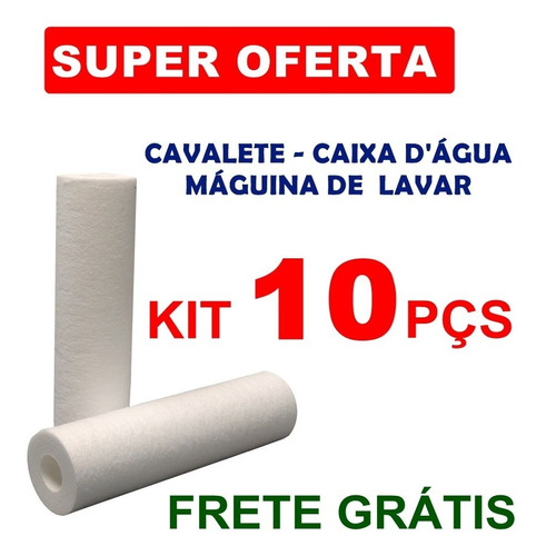 Imagem 1 de 5 de 10 Unidades Refil Pré-filtro Água Polipropileno 10 P