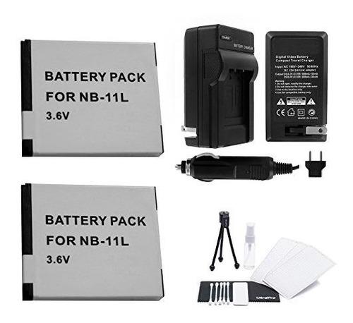 Nb-11l /nb-11lh Paquete De Batería De 2 Paquetes Con