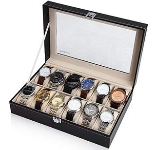 Readaeer Cuero Negro 12 Caja De Reloj Organizador