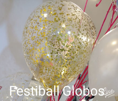 10 Globos Cristal De 14 Pulg Con Confeti Inflado Con Helio Festiball Ba