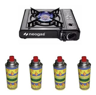 Anafe Portatil Neogas + 4 Cartuchos De Gas Butano +valija Mm
