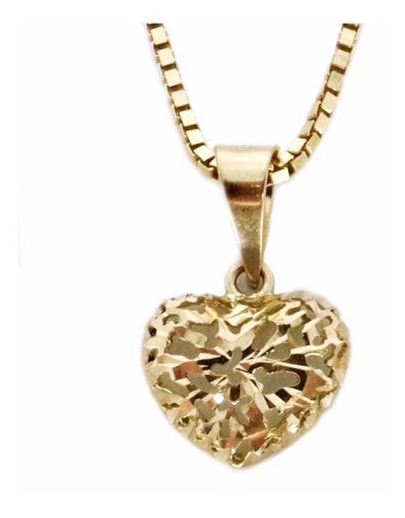 Pingente Coração Ouro 18k 7mm Diamantado Vazado Cd0045