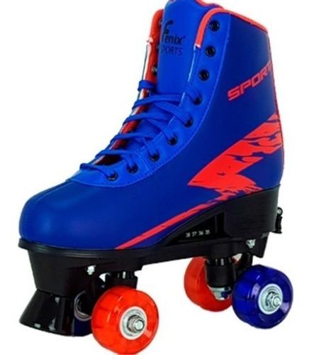 Imagem 1 de 7 de Patins Quad Roller Skate Ajustável Led Luz Azul Menino Fenix