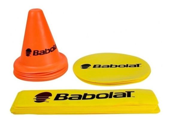 Kit Mini Tênis Babolat Com 10 Linhas 06 Cones 4 Alvos Laranj