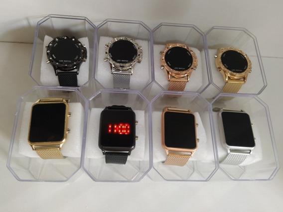 Kit C10 Relógios Misto Quadrado Redondo De Botões+caixa