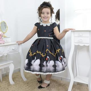 Vestido Infantil Preto Lago Dos Cisnes Com Bordados
