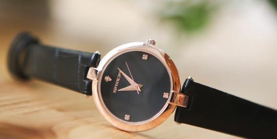 Relógio Feminino Dourado Pulseira De Couro Novo Frete Gratis