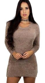 4pçs Vestidinho De Pelinho Blusão Midi Lindo Moda Inverno