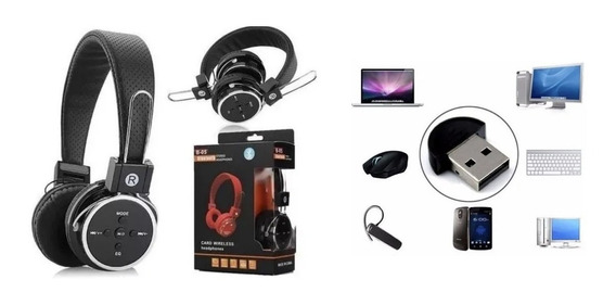 Kit Headfone S/fio Bluetooth B-05 + Adaptador Usb Bluetooth