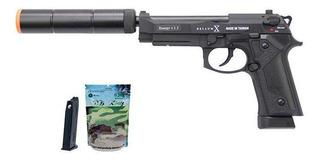 Pistola Airsoft Gbb M92 Bellum Co2 E Green Gás + Silenciador
