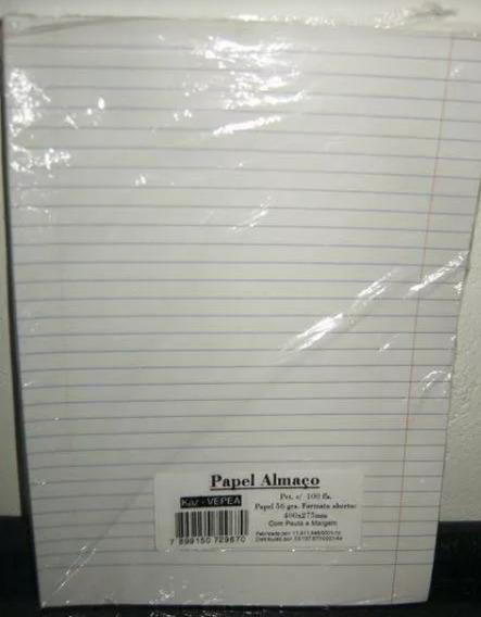 Papel Almaço Com Margem E Palta 20x27,5cm 200 Fls (frete 15)