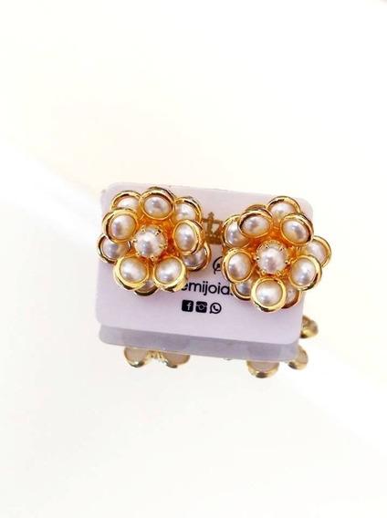 Brinco Lady Pearls Gold Folheado A Ouro Br1607