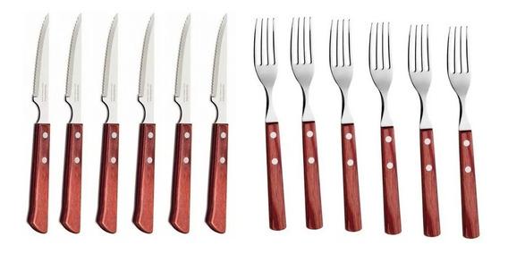 Cubiertos Polywood X24 Tramontina Acero 12 Cuchillos Tenedor