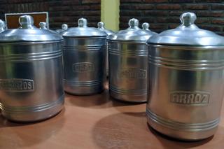 12 Tarros De Cocina Aluminio Puro Retro Vintage
