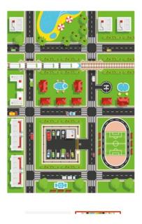 Lona Didáctica Diseño Ciudad Grande Lavable