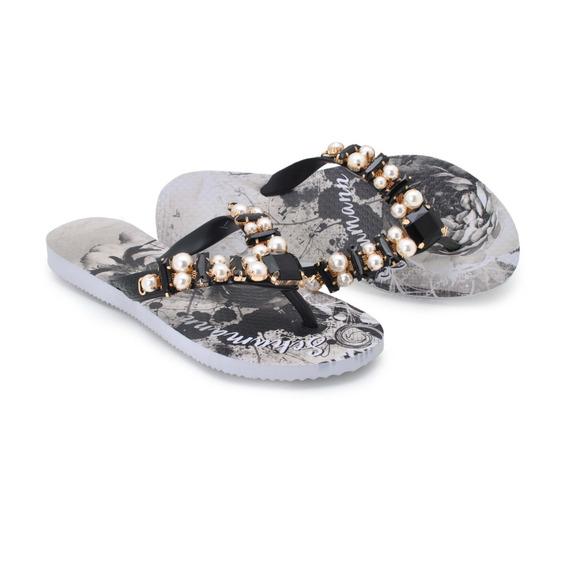 Chinelo,sandalia,rasteira Feminina,pedrararia,fl Black Ch02