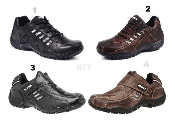 Kit 2 Sapatênis Tênis Masculino Sapato Cadarço E Velcro 100% Couro Bovino Facil Calçar Leve Macio Tchwm Shoes