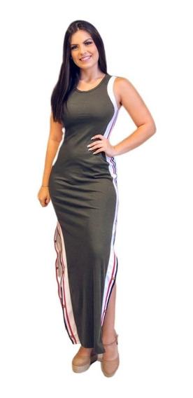 Vestido Longo Regata Malha Canelada Comprido Com Fendas Laterais + Brinde83