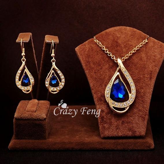 Conjunto Semi-jóia Cristal Aústriaco Colar + Brinco. Ouro