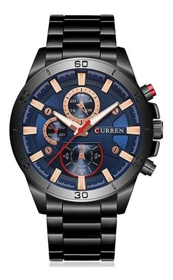 Relógio Masculino Preto Original Barato Curren 8275 C/ Garan