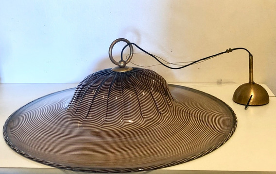 Antigua Lampara De Techo Italiana 70cm Vidrio Firmada