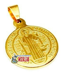 Medalla De San Benito En Acero Inoxidable Chapa Oro 2.3 Cms
