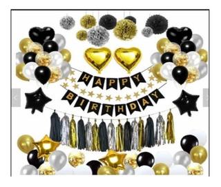 Set De Globos Feliz Cumpleaños Metalizados **84 Piezas**