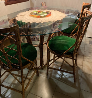 Mesa Comedor Caña Y Vidrio