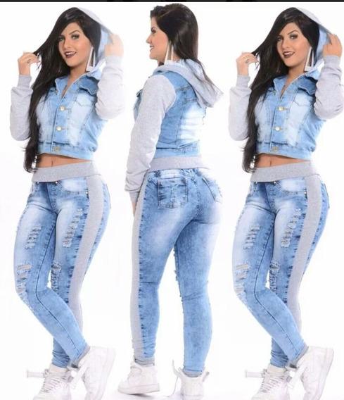 Jaqueta Blusa Jaquetinha Feminino Jeans Com Capuz
