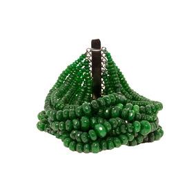 Pulseira Com 700 Pedras Naturais Esmeralda Acess Ródio Negro