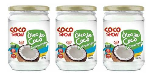 Imagem 1 de 1 de Coco Show Óleo De Coco Extra Virgem 500ml (kit C/03)