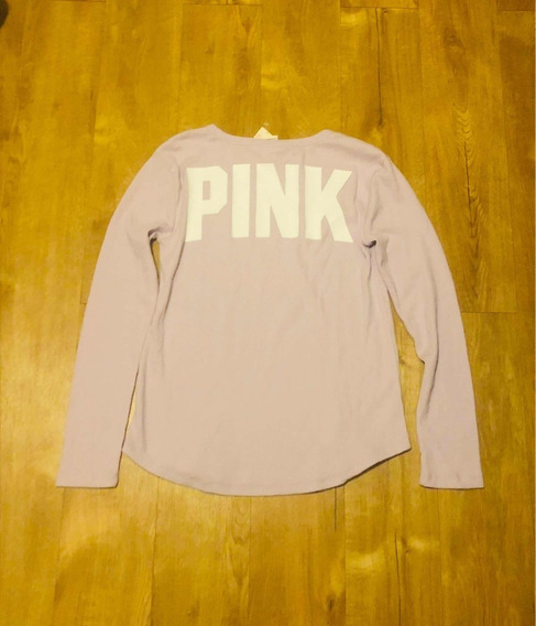 Sweater Victorias Secret Pink Original Rosa Con Logo Nuevo