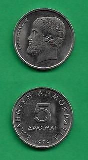 Grr-moneda De Grecia 5 Drachmai 1976-2000 Aristóteles