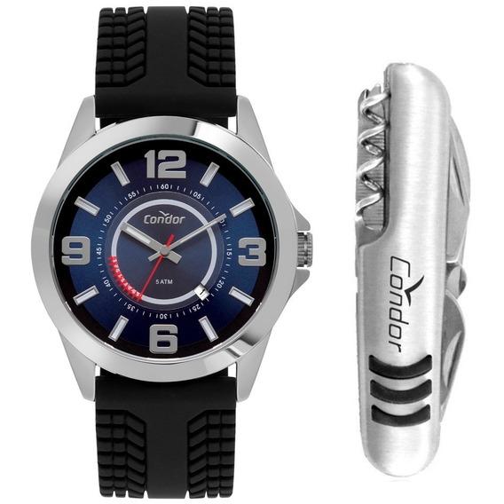 Relógio Masculino Condor Prata Casual Kit Com Canivete Nfe