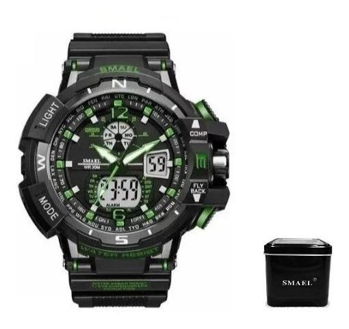 Relógio Smael 1376 Preto/verde + Caixa Smael Pronta Entrega