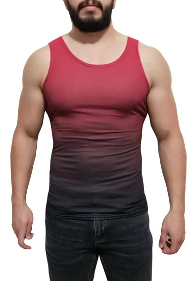 Playera Degradado Tirantes Sin Mangas Camiseta Resaque Rojo