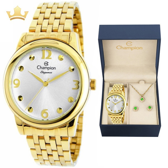 Relógio Champion Feminino Kit Cn26813w Com Nf